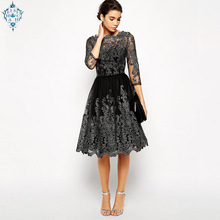 Ameision High Quality Autumn Spring Women Retro Lace Panel Floral Sleeve Evening Formal Party Midi Elegant Dress Vestidos