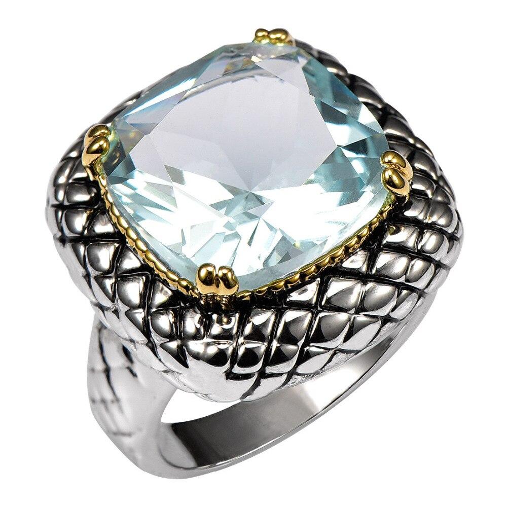 Prix pour Simulé Aigue-Marine 925 Sterling Silver Ring Usine Prix Pour Femmes et Hommes Taille 6 7 8 9 10 11 F1516