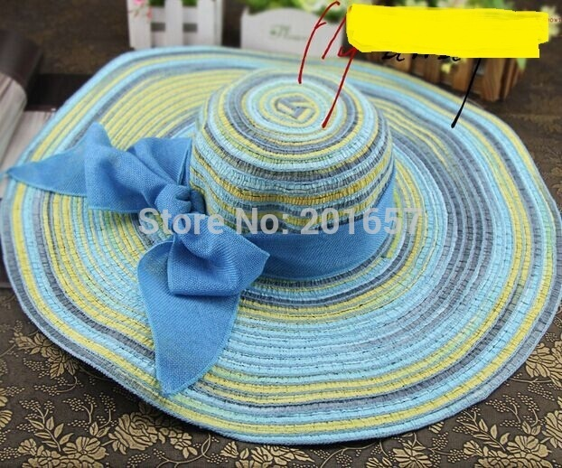 2015 Mujeres de La Manera Grande Ancho Brim sweety arco bohemia multicolor hecho a mano Del Verano Playa Sombrero de Sol Cap Envío Gratis