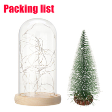 1PC Christmas Tree Glass Dome Bell Jar with Fairy LED String Light Christmas Party Holiday Lighting Home Decor