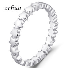 ZRHUA Brand 925 Silver Rings for Women Classic Full Star Jewelry Vintage White Ring Best Lovers Valentine's Day Gift Promotion(China)