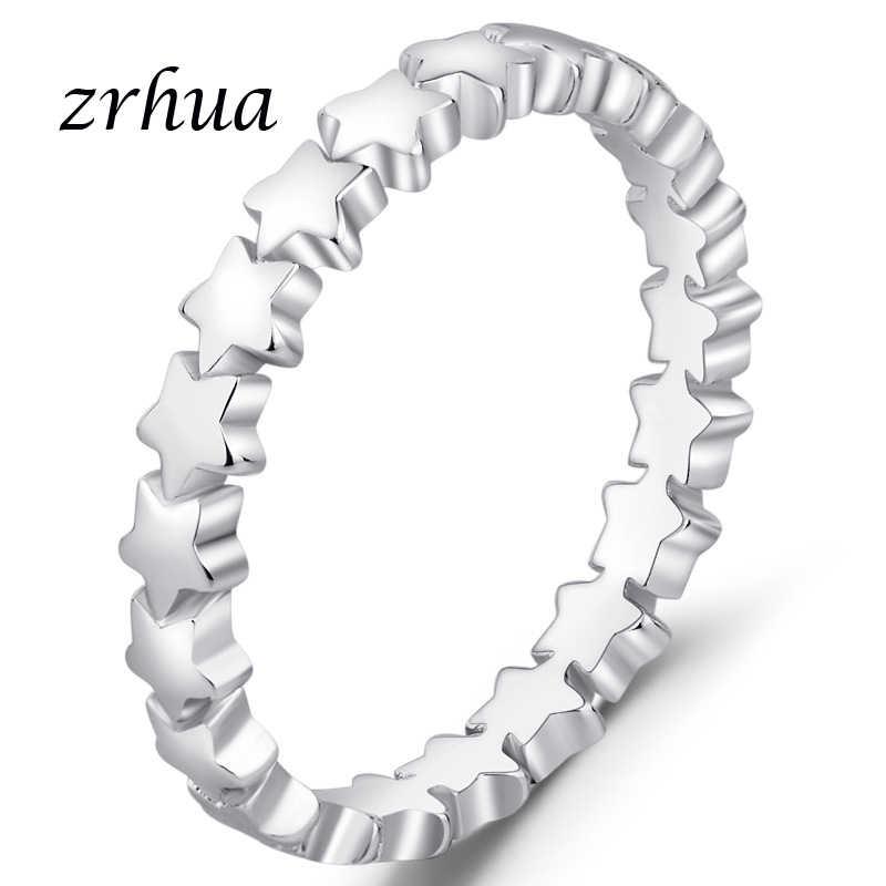 ZRHUA Marke 925 Silber Ringe für Frauen Klassische Voller Stern Schmuck Vintage Weiß Ring Beste Liebhaber Valentinstag Geschenk förderung
