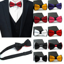 New Satin For Mens Pre Tied Wedding Party Fancy Plain Necktie tie Bow Ties Boy business Butterfly Formal Solid Color PSJ0145(China)