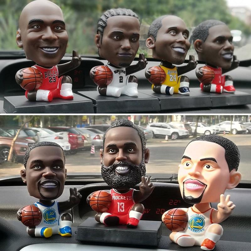 Cute NBA Super Star Player Figure Basketball Football Model PVC Action Figures Toys Kids Sports Doll Phone Holder Base