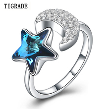 TIGRADE 925 Sterling Silver Open Finger Ring Crescent Moon Star Dazzling CZ for Women Resizable Wedding Engagement Jewelry Gift strollgirl 925 sterling silver dazzling cz star adjustable ring open finger ring star for women luxury sterling silver jewelry
