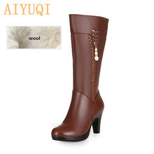 2019 Winter Women's Genuine Leather High-heeled Boots, Wool Lined Boots, Fashion High Quality Motorcycle Boots, Free Shipping