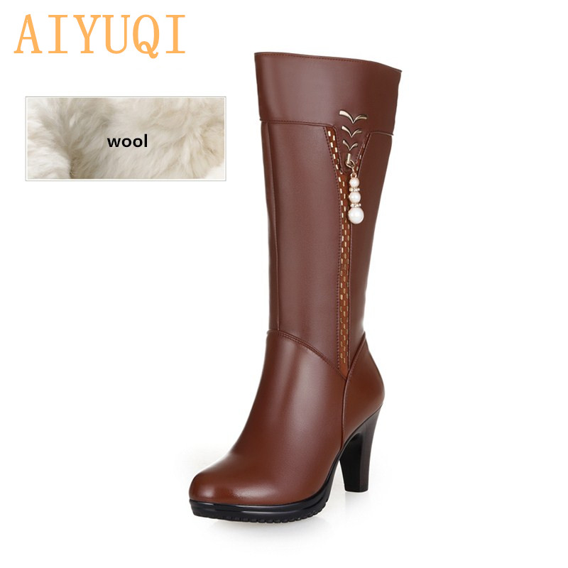 2020 Winter Women Genuine Leather High-heeled Boots  Wool Lined Boots Fashion High Quality Motorcycle Boots  Free Shipping