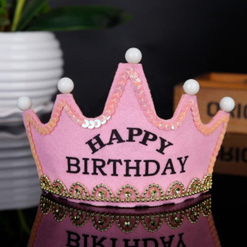 Красочные светодиодные День рождения с головным убором Детские корона украшения для душа реквизит для фотосессии - Цвет: A