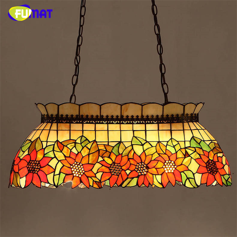 FUMAT Stained Glass Pendant Lamp Art Sunflower Mutil-color Glass Shade Restaurant Kitchen Lamp Dining Room Glass Pendant  Lights fumat stained glass pendant lights garden art lamp dinner room restaurant suspension lamp orchids rose grape glass lamp lighting