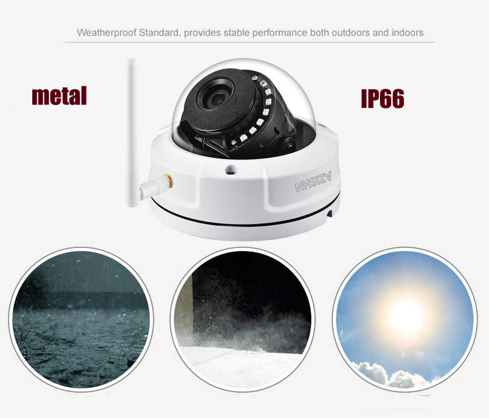 AZISHN антивандальный 720 P 960 P 1080 Беспроводной IP CCTV камера Камера P2P обнаружение движения и оповещения по электронной почте, Wi-Fi, проводные наушники с SD слот для карты Макс 128 г
