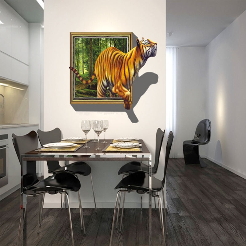 creative 3d wall stickers tiger pattern for living room mural art