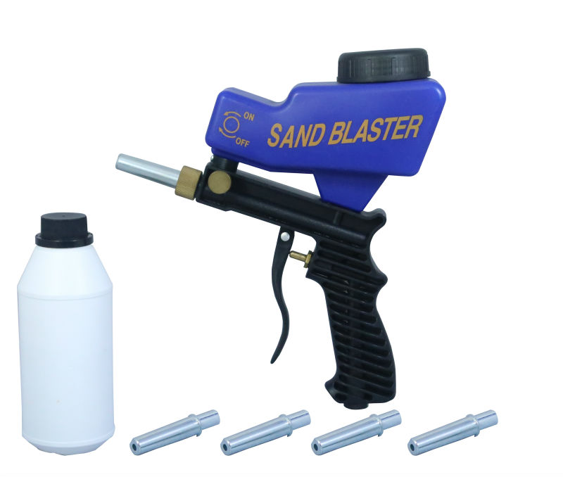 LEMATEC SandBlaster Gun With Four Nozzle Tips Sand Canned Abrasive Tools Kits For Remove Paint Rust Spray Gun Sandblasting Gun