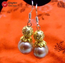 Qingmos Purple Dangle Pearl Earrings for Women with 10-11mm Purple Round Natural Freshwater Pearl Earring Hook Fine Jewelry-e440
