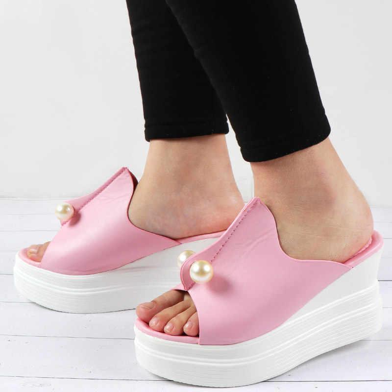الصيف النساء أسافين الصنادل مثير الديكور منصة أحذية مفتوحة