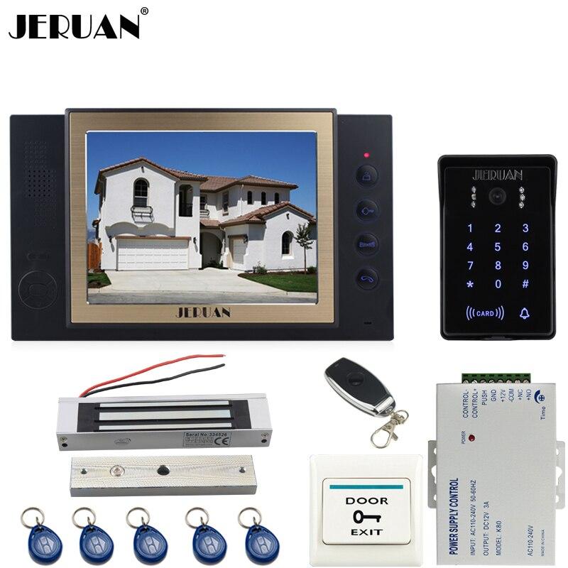 JERUAN 8 inch TFT video doorphone Record intercom system kit New RFID waterproof Touch Key password keypad Camera 8G SD Card