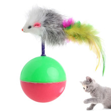 Plastic Pet Cat Supplies Funny Playing Toy False Mouse Ball Feather Activity New