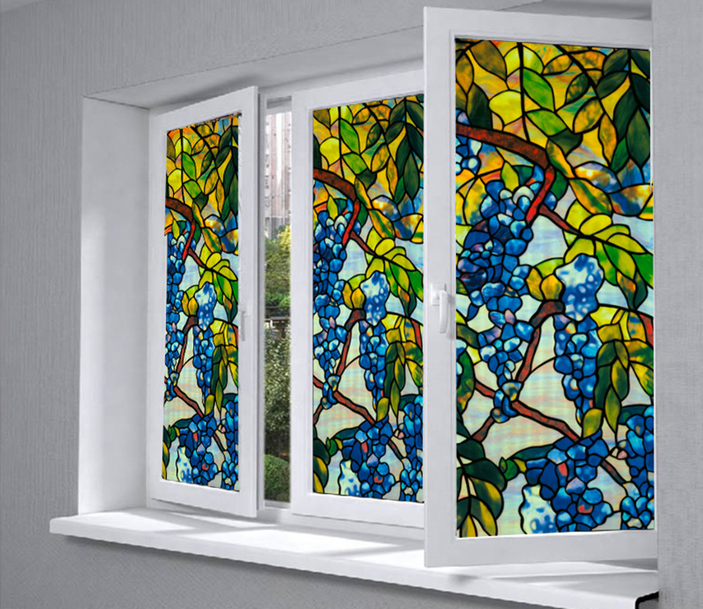 """Glass Window Privacy Film Textured/Stained Effect Grape Security Static Clings 36\"""" x 20\""""(92cm x 50cm)"""