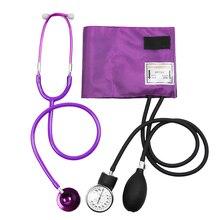 Fioletowy medyczny Monitor ciśnienia krwi BP mankiet manometr ramię Aneroid Sphygmomanometer z Cute Dual Head Cardiology stetoskop