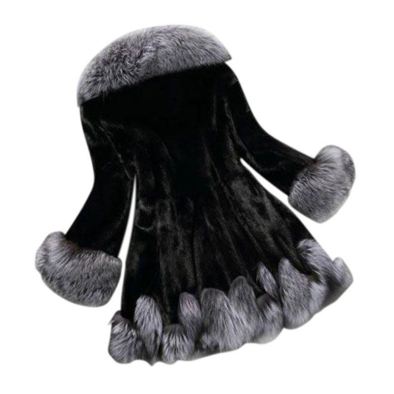 Femmes Moyen D'hiver Blanc Femelle Design Manteaux Nouveau noir Pardessus Luxe Mode Dames Fourrure Renard Faux Manteau Long Vison De qBpwIEpP