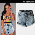 new spring 2016 fashion shorts women denim female shorts solid blue short Jeans hole Style Hight Waist women a shorts summer