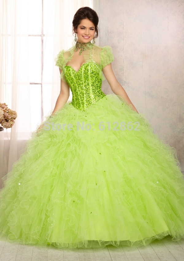 Ball Gown Organza Crystals Top Long Lime Green Prom Dresses In Prom