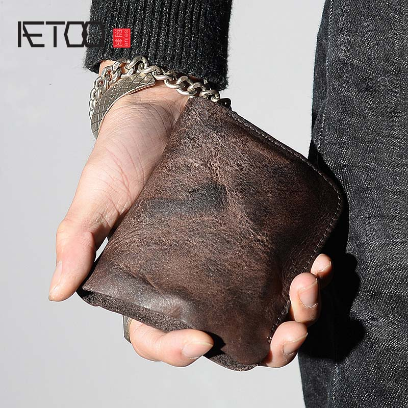 AETOO Small purse male short section of youth vintage genuine leather wallet ladies soft vertical Vintage