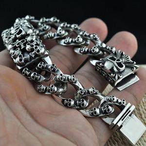 Image 4 - Стерлинговое Серебро 925 пробы, винтажный резной браслет с черепом и цепочкой, S925