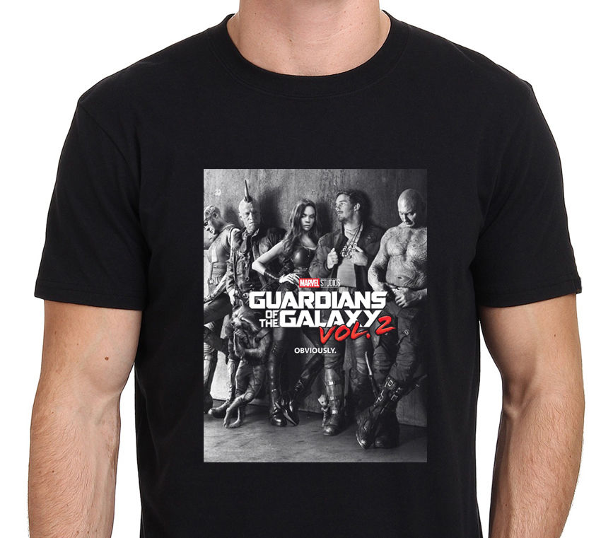 2018 Newest Cool Guardian Of The Galaxy 2 Movie Poster Design Mens 100% Cotton Tee Shirt High Quality Short Sleeve Tees