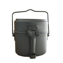 Armée boîte à déjeuner 3 pièces en 1 en plein air Camping voyage vaisselle WWII allemagne militaire Mess Kit cantine bouilloire Pot bol de nourriture