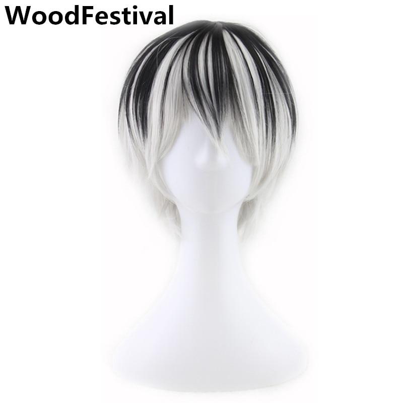 Woodfestival 10 polegada masculino cosplay peruca curta reta homem preto misturado cinza resistente ao calor perucas sintéticas