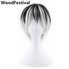 цена на male anime wig men white black wig short mixed color wigs straight man wigs hair heat resistant synthetic WoodFestival