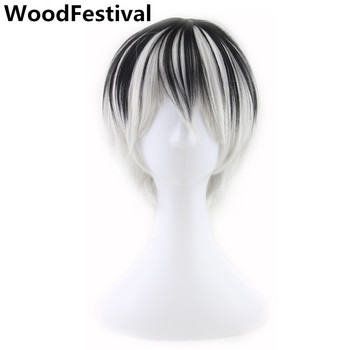 WoodFestival Men Male Anime Cosplay Short Wig Straight Hair Man Black Mixed Grey Brown Heat Resistant Synthetic Wigs touken ranbu online atsu toushirou wig short black straight hair cosplay wig anime hair wigs