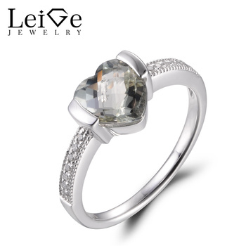 LeiGe Jewelry Natural Green Amethyst Ring Unique Engagement Rings Heart Shape Green Gemstone Ring Real 925 Sterling Silver Gifts