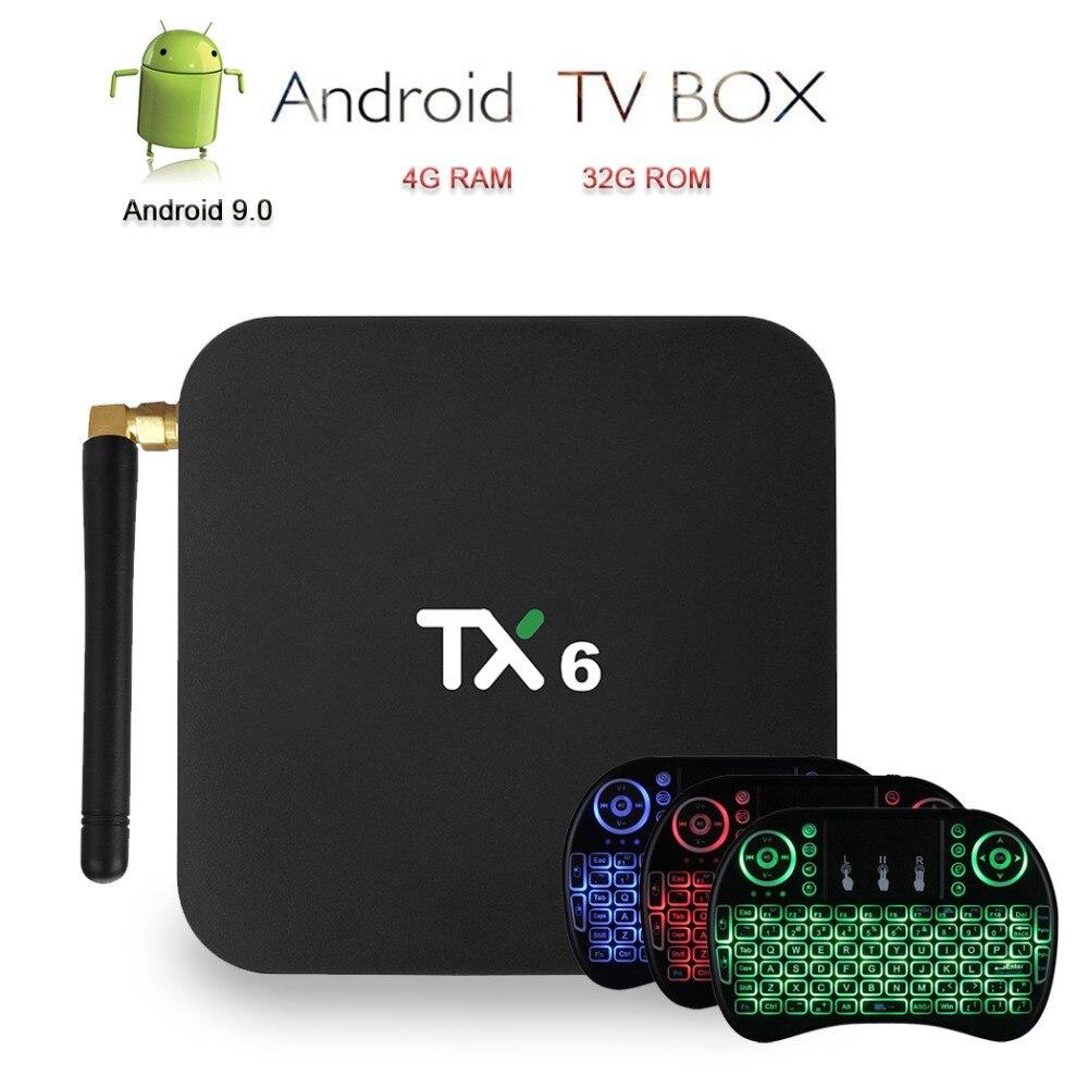 Satxtrem boîtier de télévision androïde télévision intelligente 4 K TX6 Set Top Box Android 9.0 TVBox 4G RAM 32 GB ROM lecteur multimédia Double wiFi + i8 clavier rétroéclairé