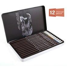 Superior 12Pcs Professional Hard Medium Soft Sketch Charcoal Pencils Drawing Pencils Set For School Standard Pencil Art Supplies