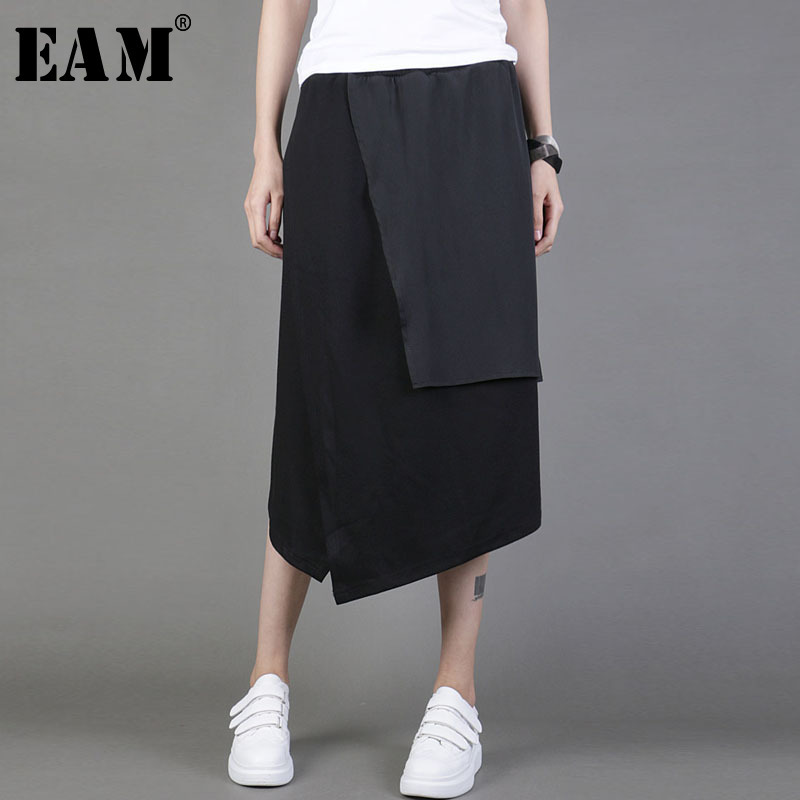[EAM] 2020 New Spring Summer High Elastic Waist Black Irregular Spliced Brief Split Joint Half-body Skirt Women Fashion  JY047