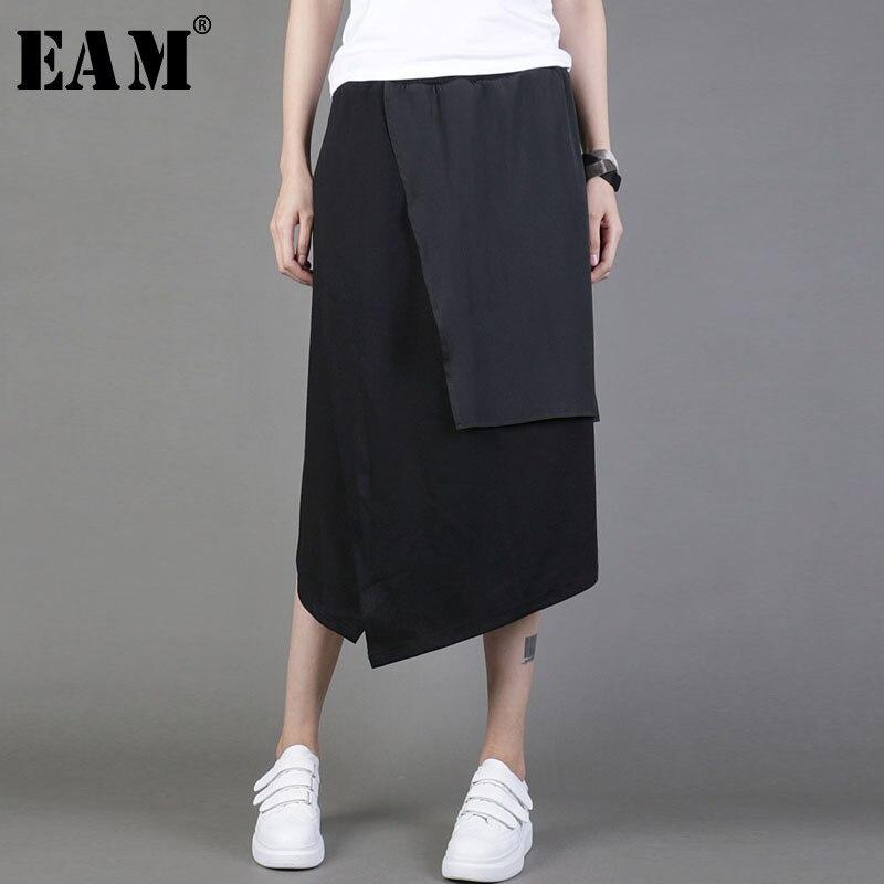 [EAM] 2020 New Spring Summer High Elastic Waist Black Irregular Spliced Brief Split Joint Half-body Skirt Women Fashion  JY047