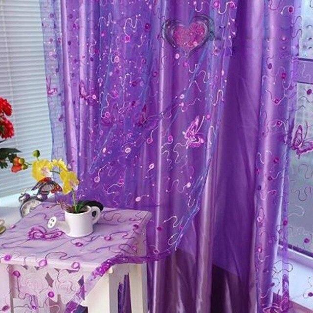 Romantico Moderno Ricamato Paillettes Farfalla Rustico Sheer Voile Tende per Soggiorno camera Da Letto Cucina Tende Viola 344 & 30