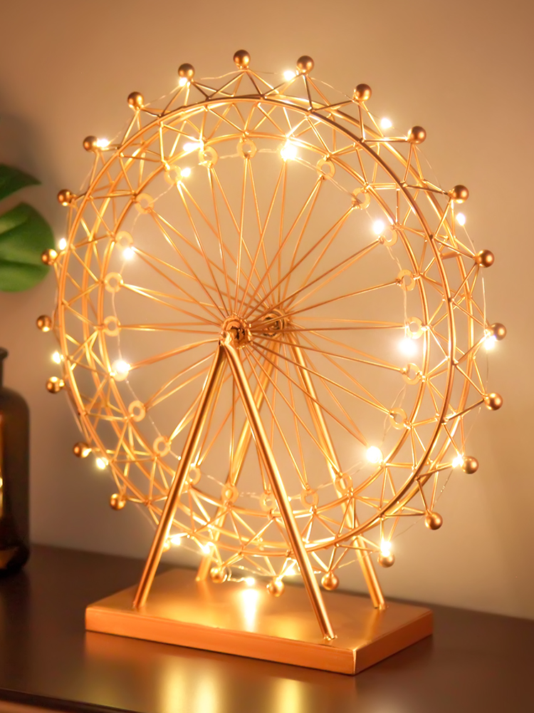 Nordic Iron Ferris Wheel Ornaments Rotating Table Lamp Creative Crafts Bedside Lamp Living Room Bedroom Home DecorationsNordic Iron Ferris Wheel Ornaments Rotating Table Lamp Creative Crafts Bedside Lamp Living Room Bedroom Home Decorations