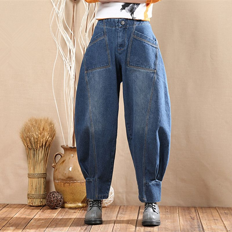 2017 Casual Denim Bloomers Pants For Women Female Wide Leg Jeans Pants Autumn Vintage Cotton Baggy Joggers 092804