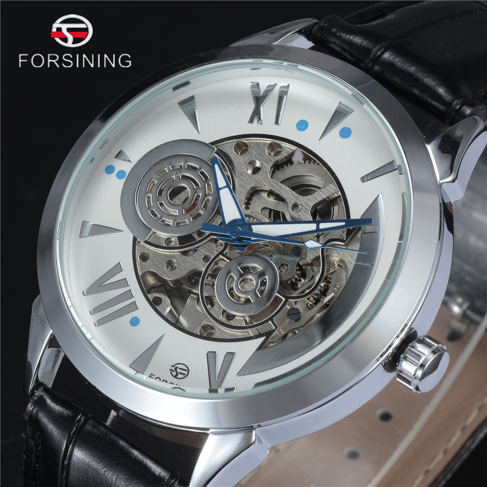 FORSINING Brand 2016 New Men Automatic Mechanical Wristwatch Luxury Silver Skeleton Watch Black Leather Band Male Dress Clock 2016 luxury wristwatch black leather belt male automatic watch men s sports watch black face