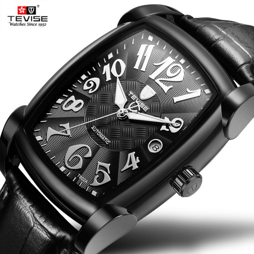 Tevise Fashion Orologio Uomo Men's Mult-functional Day LuminousAuto Mechanical PU Leather Strap Watches Xmas Gift Box Free Ship tevise wristwatches steampunk men s roman number day watch automatic mechanical watches gift box free ship