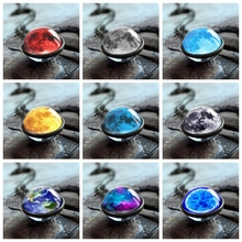 2019 New Fashion Double Sided Galaxy Star Cabochon Glass Pendant Necklaces Jewelry Women Statement
