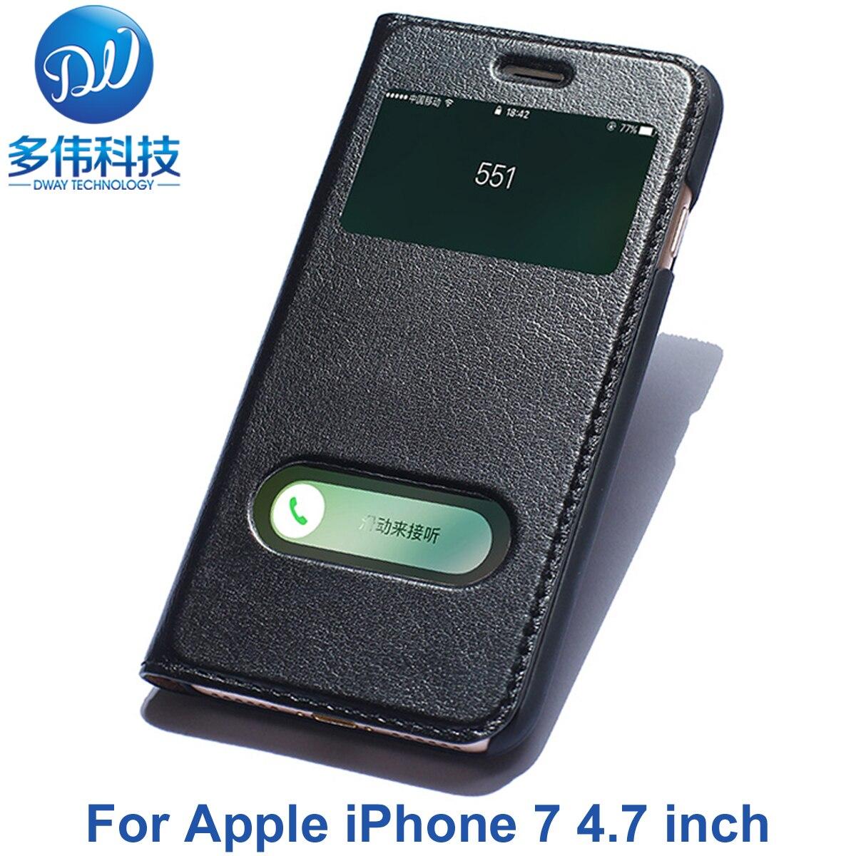 bilder für Luxus Doppel Window View Flip Echtes Leder-kasten Für Apple iPhone 7 Echtem Leder Phone Bag Capa Mit Einzelhandel paket
