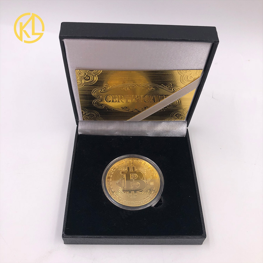 Gold Plated Physical Bitcoins Bit Coin BTC With Case And Nice Gift Box Physical Metal Antique Imitation BTC Coin Art Collection-5