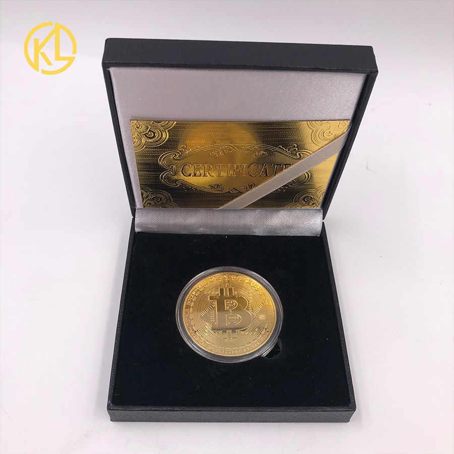Placcato oro Fisico Bitcoin Bit Moneta BTC Con Il Caso E Contenitore di Regalo Piacevole Fisica In Metallo Antico Imitazione BTC Moneta di Arte collezione