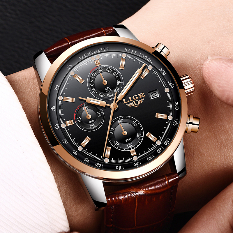 LIGE Mens Quartz Chronograph Tachymeter Watch Leather Band