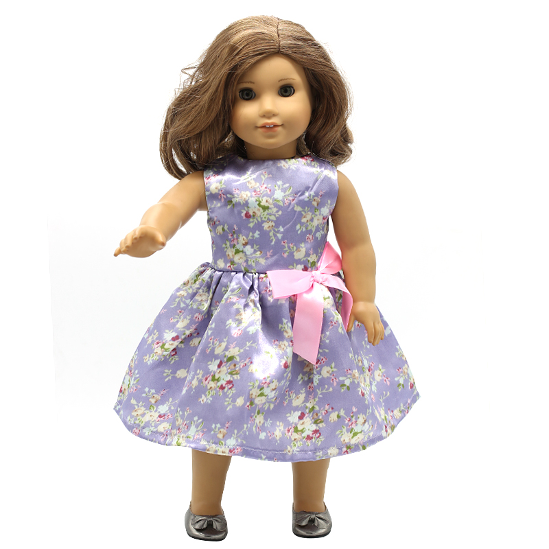 Doll Accessories American Girl Doll Clothes 15 Colors Style Printing Big Bow Princess Dress for 16-18 inch Dolls Girl Gift X-5 handmad 18 inch american girl doll clothes princess anna dress fits 18 american girl doll mg 032