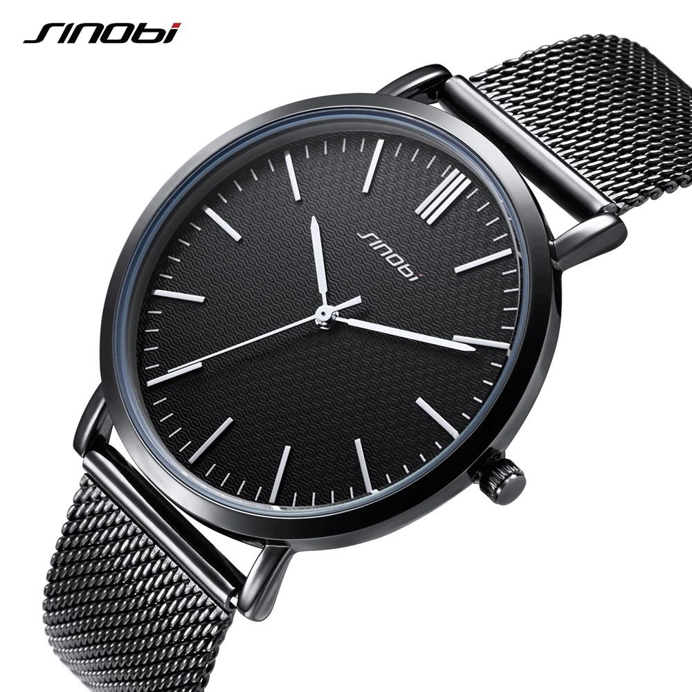 SINOBI Ultra-thin Dial 2018 Watch Men Top Brand Luxury Business Quartz Watch Men Fashion Wristwatch Mesh Band Relogio Masculino