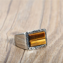 Natural Square Black Onyx Tiger Eye Stone Signet Ring Men In Stainless Steel Chunky Gents Ring Vine Edge Simple Cool Men Jewelry